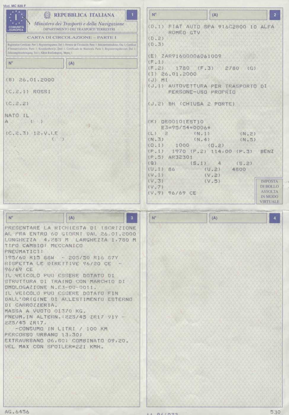 Estremamente Documenti per la Circolazione Stradale VS14